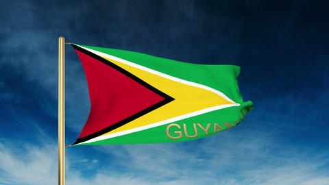 Guyana flag slider style with title. Waving in the wind with cloud background an Animation