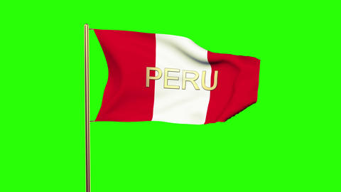 Peru flag with title waving in the wind. Looping sun rises style. Animation loop CG動画