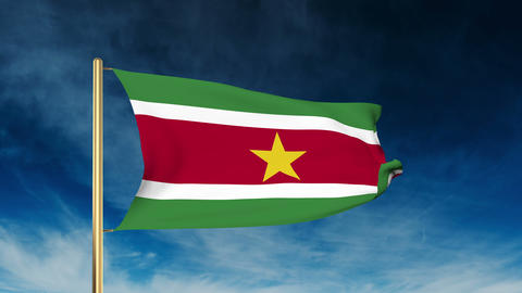 Suriname flag slider style. Waving in the win with cloud background animation Animation