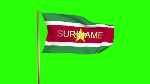 Suriname flag with title waving in the wind. Looping sun rises style. Animation  Animation