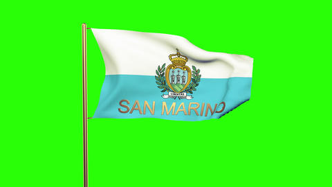 San Marino flag with title waving in the wind. Looping sun rises style. Animatio Animation