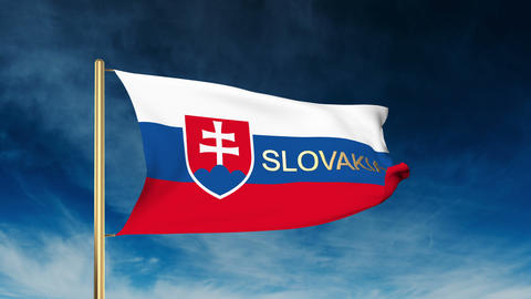 Slovakia flag slider style with title. Waving in the wind with cloud background  Animation