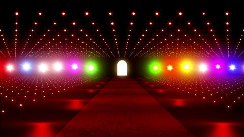 On The Red Carpet 16 colorful lights Stock Video Footage