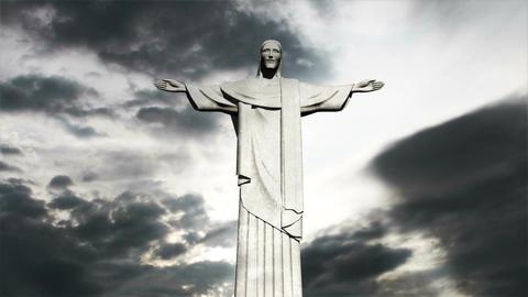 Rio Jesus Clouds Timelapse 03 Stock Video Footage