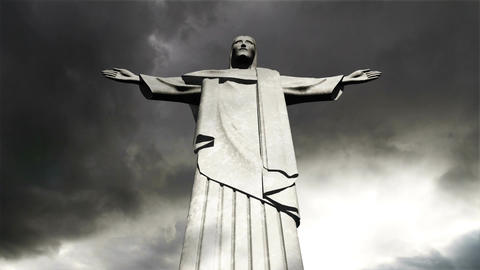 Rio Jesus Clouds Timelapse 11 Stock Video Footage