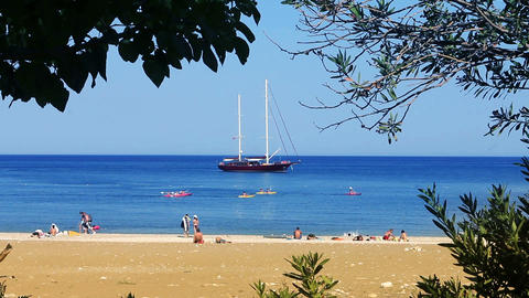 Sail Boat at the beach Stock Video Footage