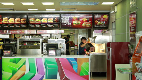 inside of a McDonald's Restaurant Stock Video Footage