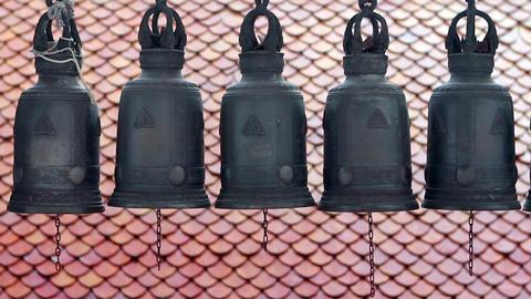 Buddhist Temple Bells Stock Video Footage