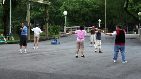 people streching in park Stock Video Footage