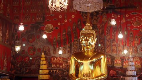 Giant Golden Buddha Statue Stock Video Footage
