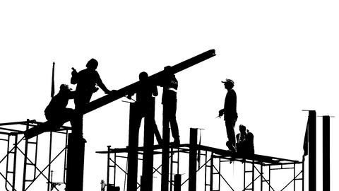 Black and white builders Stock Video Footage
