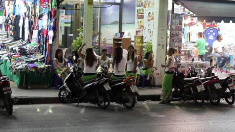Massage girls waiting costumer Stock Video Footage