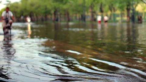 Street under flood Stock Video Footage