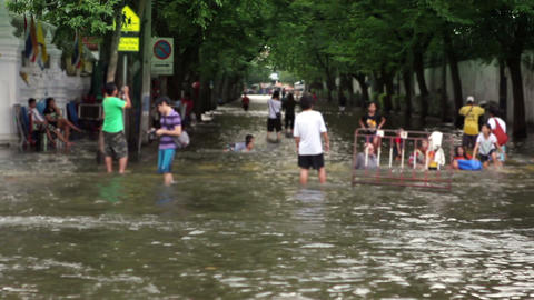 Street under flood Stock Video Footage