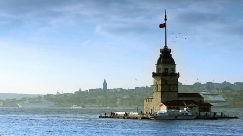 view of istanbul kizkulesi Stock Video Footage
