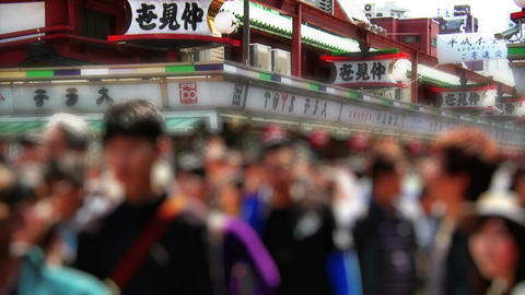 Anonym Crowd Tokyo Asakusa SlowMotion 60fps 02 Stock Video Footage
