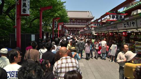 Crowd Asakusa Tokyo FastMotion 01 Stock Video Footage