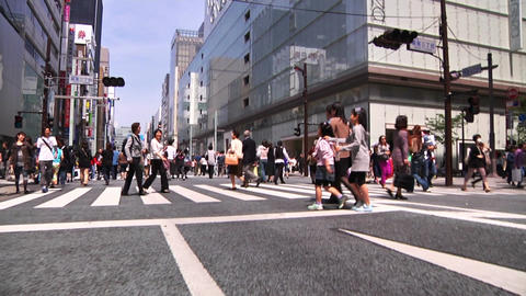 Crowd Ginza Tokyo SlowMotion 60fps 23 Stock Video Footage