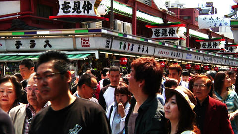 Crowd Tokyo Asakusa SlowMotion 80fps 04 Stock Video Footage