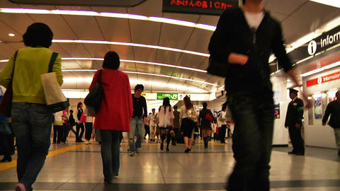 Crowd Tokyo Subway SlowMotion 60fps 19 Stock Video Footage