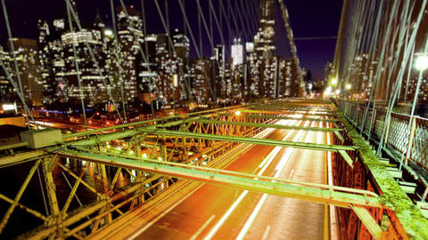 Brooklyn Bridge and New York City Skyline Stock Video Footage