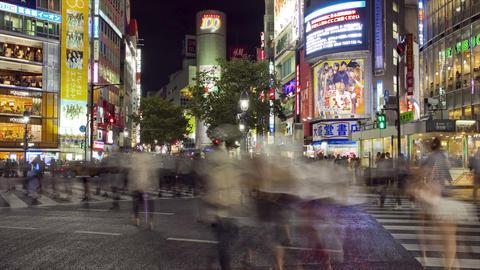 Busy Shibuya Crossing at night Footage
