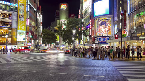 Busy Shibuya Crossing at night Stock Video Footage
