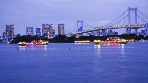 Lighted boats on Tokyo Bay Footage
