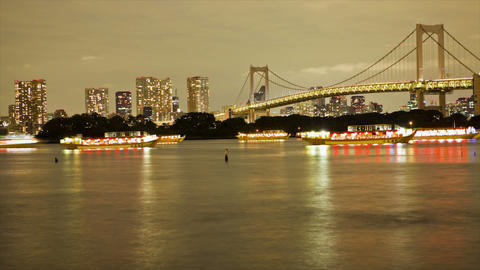 Lighted boats on Tokyo Bay Stock Video Footage