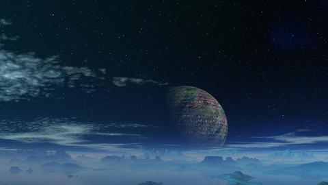 The major planet against a fantastic landscape Stock Video Footage