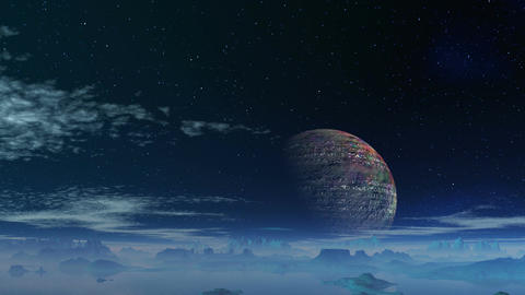 The major planet against a fantastic landscape Animation
