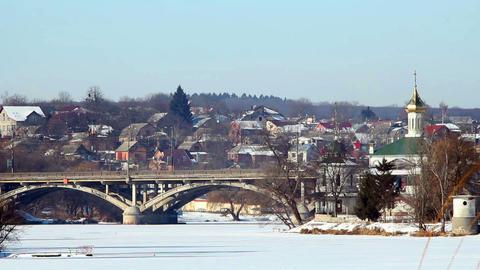 Bridge in winter 2 Stock Video Footage