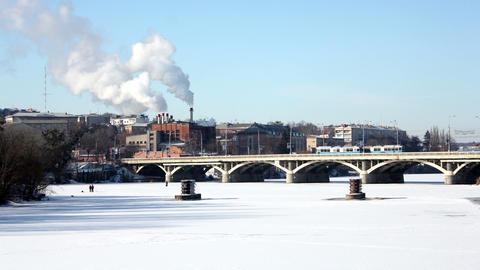 Bridge in winter 4 Stock Video Footage