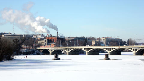 Bridge in winter 4 Stock Video Footage