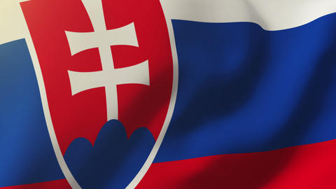 Slovakia flag waving in the wind. Looping sun rises style. Animation loop Animation