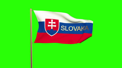 Slovakia flag with title waving in the wind. Looping sun rises style. Animation  Animation