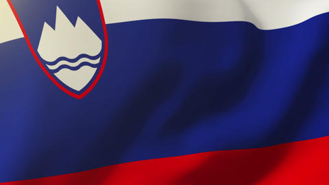 Slovenia flag waving in the wind. Looping sun rises style. Animation loop Animation