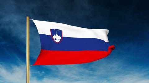 Slovenia flag slider style. Waving in the wind with cloud background animation Animation