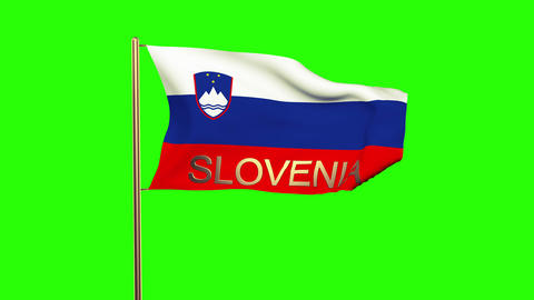 Slovenia flag with title waving in the wind. Looping sun rises style. Animation  Animation