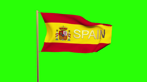 Spain flag with title waving in the wind. Looping sun rises style. Animation loo Animation