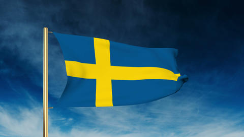 Sweden flag slider style. Waving in the wind with cloud background animation Animation