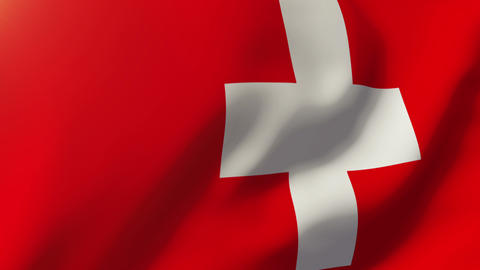 Switzerland flag waving in the wind. Looping sun rises style. Animation loop Animation