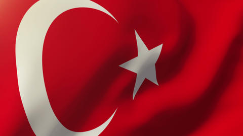 Turkey flag waving in the wind. Looping sun rises style. Animation loop Animation