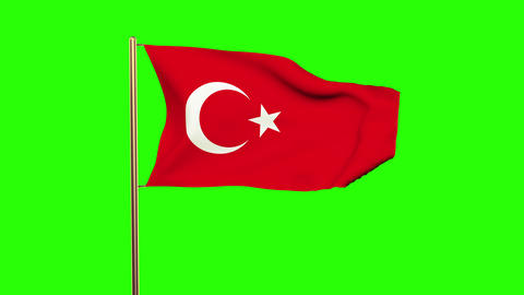 Turkey flag waving in the wind. Looping sun rises style. Animation loop. Green s Animation
