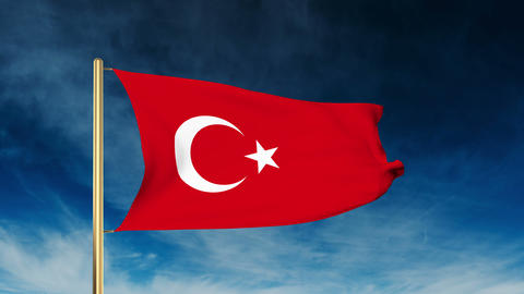 Turkey flag slider style. Waving in the wind with cloud background animation Animation