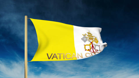 Vatican City flag slider style with title. Waving in the wind with cloud backgro Animation