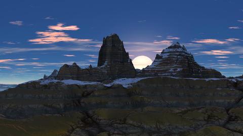 Sunrise between peaks, Stock Animation