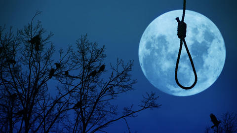 Hanging noose with the moon in the background Footage