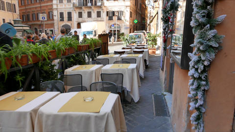 Tables In The Cafe. Rome, Italy - February 18, 2015: Cafe On The Street Via In A stock footage