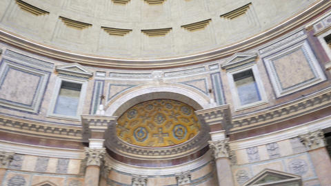 Pantheon, the interior. Rome, Italy. 1280x720 Stock Video Footage